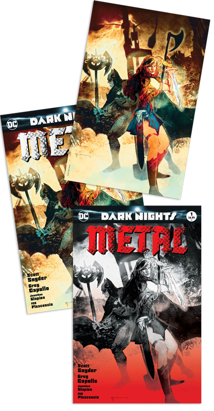 Dark Night: Metal #1 3-pack (Jp regular, Virgin, B/W (Bill Sienkiewicz Jetpack Comics / Forbidden Planet exclusive)