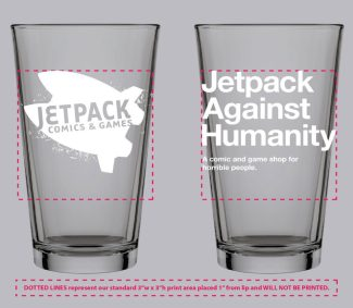 Jetpack Pint Glass (Jetpack Against Humanity)