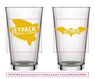 Jetpack Pint Glass (Bat Logo)