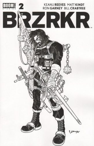 BRZRKR (BERZERKER) #2 (1:20 Black & White Surprise Variant  – Without Red Stripe)