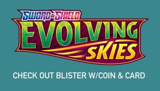 POKEMON EVOLVING SKIES Check Out Blister W/coin & Card Wave 3
