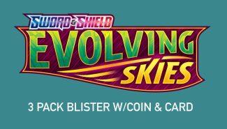 POKEMON EVOLVING SKIES 3 Pack Blister W/coin & Card Wave 3