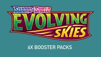 POKEMON EVOLVING SKIES 6x Booster Packs Wave 3